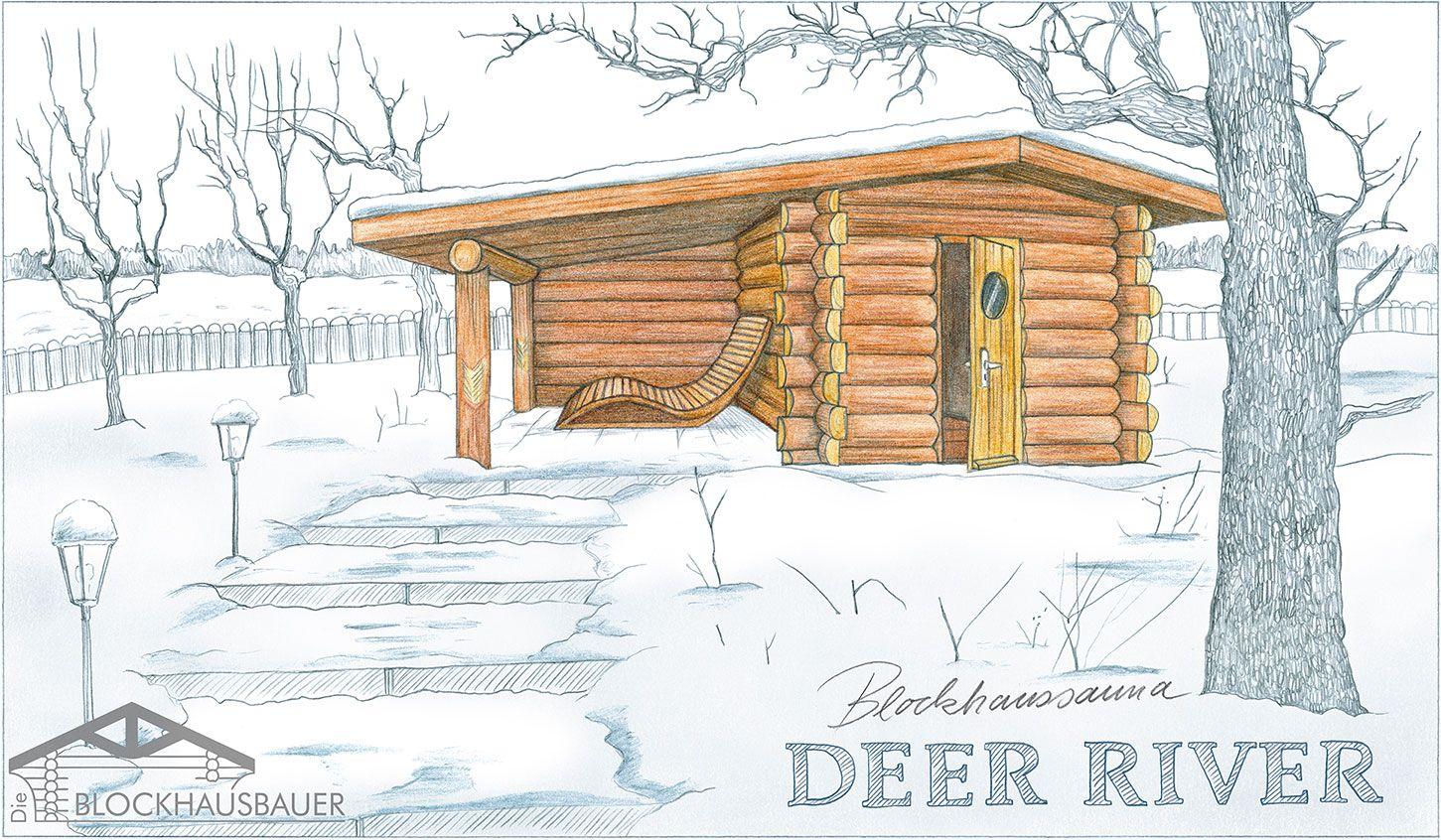 Gartensauna Deer River Zeichnung