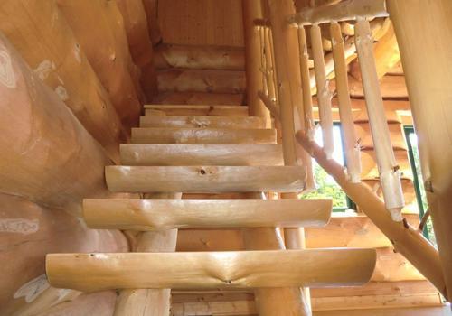 Blockhaus, Naturstamm, Rundholz, Kanadablockhaus, Naturstammtreppe, Treppe im Innnenraum