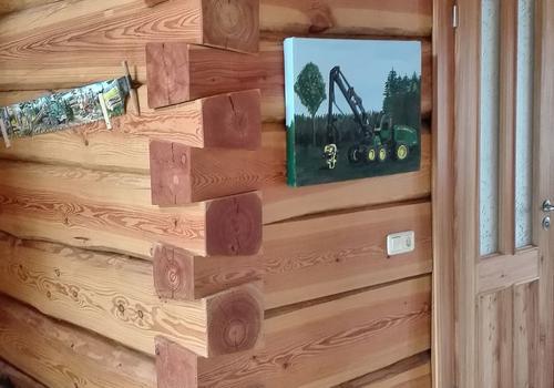 Schwalbenschwanzverbindung in einem Naturstammhaus | DIE BLOCKHAUSBAUER in Sachsen