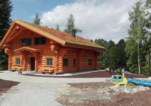 Die Blockhausbauer - Ein Blockhaustraum. Blockhaus mit Gründach und Schiffsgiebel