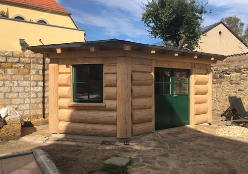 Post&Beam Naturstamm-Fachwerk - Gartenhaus